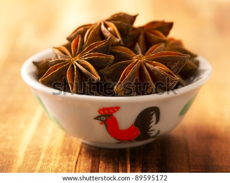 close up of a bowl of star anise
