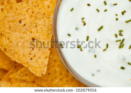 Close up of a bowl of white dip with herbs  beside nachos