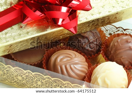 Close-up of a box of assorted chocolates