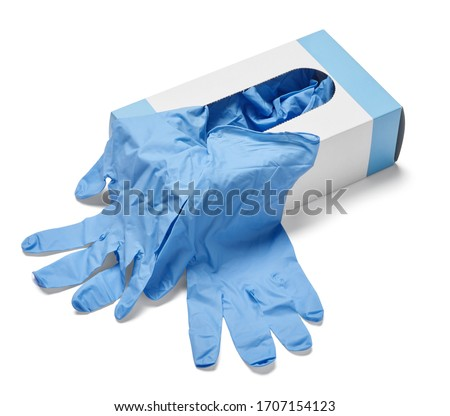 close up of a box of white latex protective gloves on white background ストックフォト ©