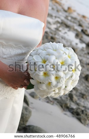 stock photo Closeup of a bride holding a frangipani wedding bouquet at
