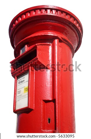 Close up of a British red post box on a white background.