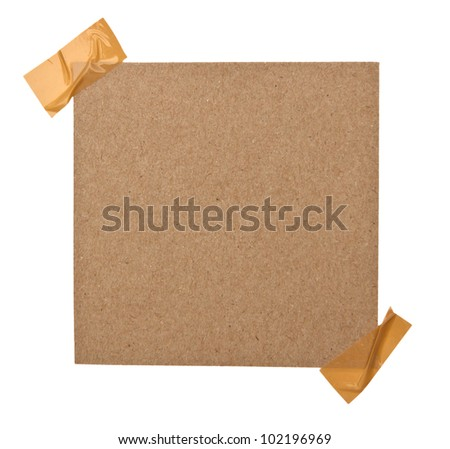 close up of a brown note paper on white background with clipping path