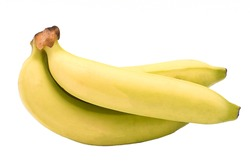 Close up, of a bunch, organic bananas, Hight fibre testy isolated on white background.