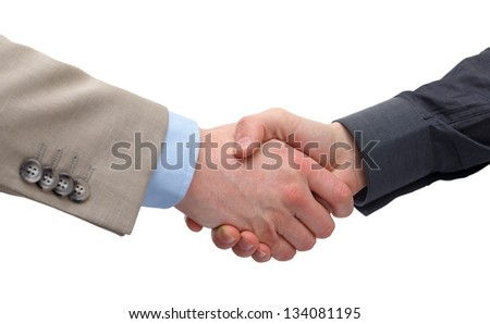 Close up of a business handshake on isolated background