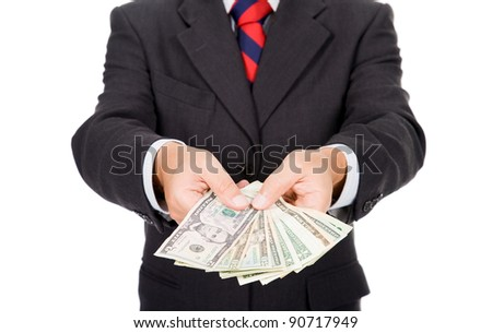 Close up of a businessman with money on white background