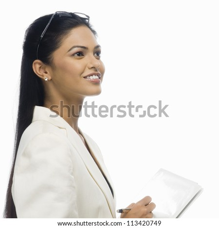 Close-up of a businesswoman holding a document