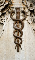 Close-up of a caduceus or a Rod of Asclepius with a pair of snakes twisted around a stick, symbolical decoration on the wall of an old pharmacy, Turin, Piedmont, Italy