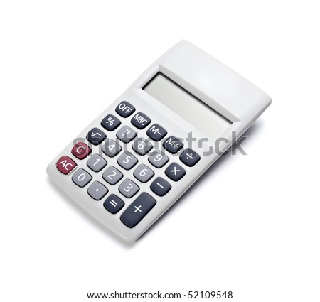 close up of a calculator on white background with clipping path