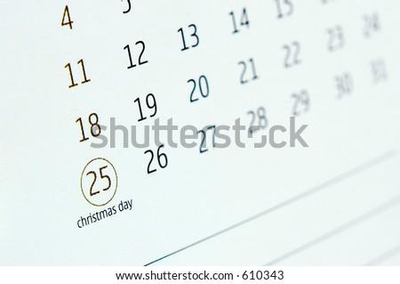 O fim acima de um calendário indica o dia do christmas