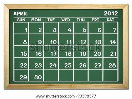 close up of a calendar on a blackboard