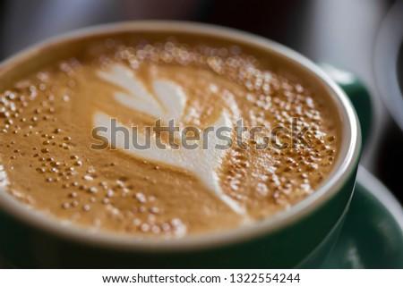 close up of a cappuccino mug, cappuccino cup