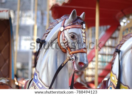close up of a carousel horse at ...