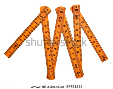 close up of  a carpentry ruler on white background with clipping path