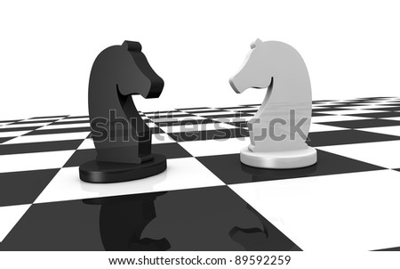 close up of a chess board with two pieces of different colors (3d render)