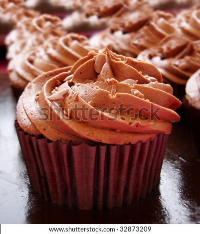 Close up of a chocolate cup cake