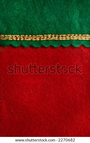 Close-up of a Christmas stocking.