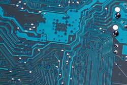 close-up of a circuit board of a computer. photo icon for modern communication