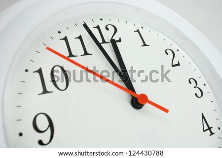 close up of a clock face showing the hands at two minutes to midnight