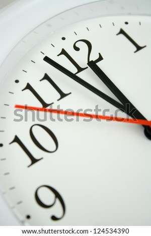 close up of a clock face showing the hands at two minutes to twelve