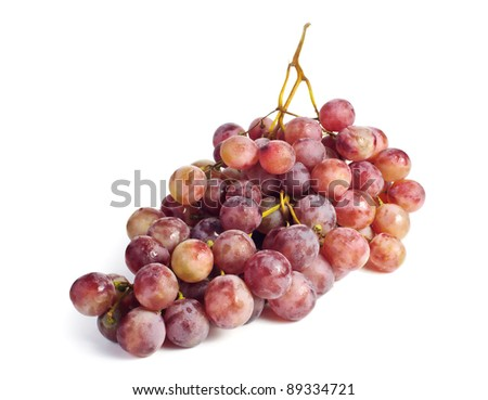 Close up of a cluster of red grapes isolated on white background