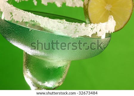 Close up of a cold Margarita cocktail