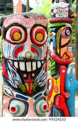 close up of a colorful totem .