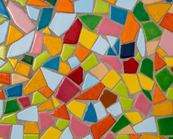 Close-up of a colourful mosaic design.
