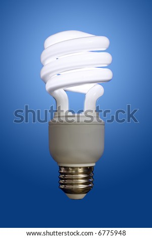 Close up of a compact fluorescent light bulb, turned on with a blue gradient behind.