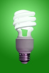 Close up of a compact fluorescent light bulb, turned on with a green gradient behind.