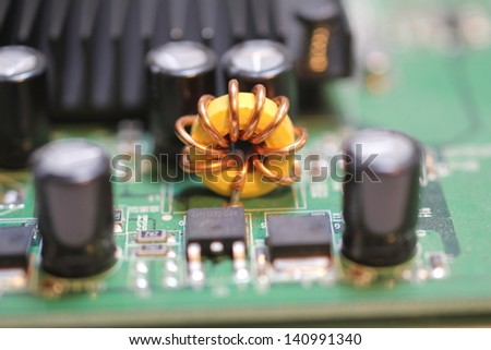 close up of a computer circuit board