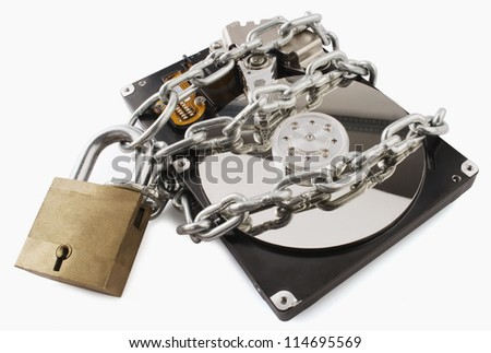 Close-up of a computer hard disk locked