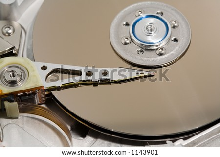 Close up of a computer hard drive internal - macro