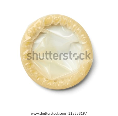 close up of  a condom on white background