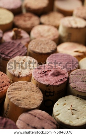 Close up of a cork wine with different variation of wine color