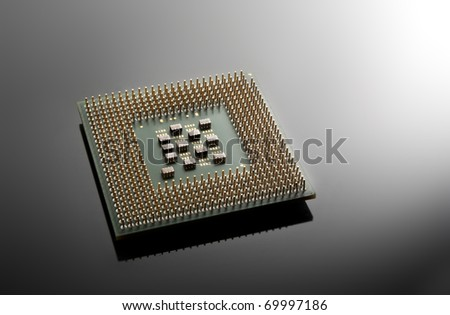 Close up of a CPU processor, with copy space - stock photo