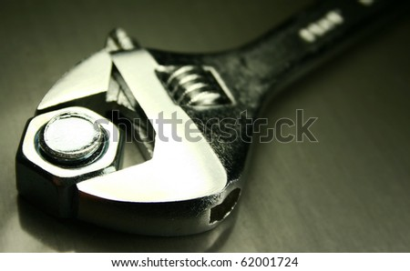 close up of a crescent wrench - stock photo