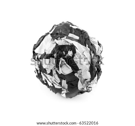 close-up of a crumpled paper, isolated on white background #63522016