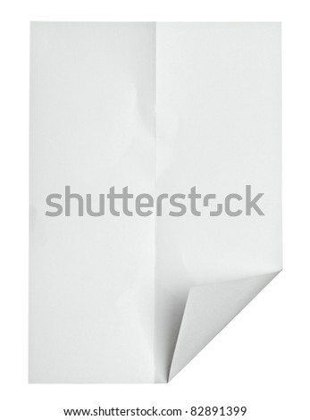 close up of  a crumpled paper with curled edge on white background