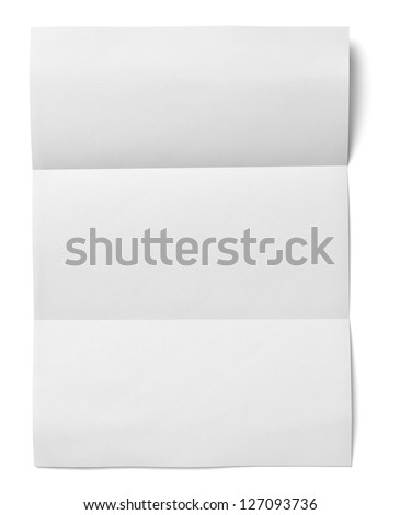 close up of a crumpled unfolded piece of paper on white background