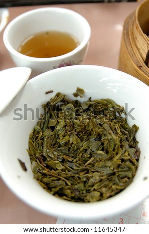Close up of a cup of chinese green tea (Longjing tea)