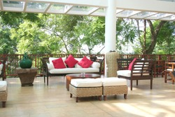 Close up of a deck with nice furniture in a luxury home