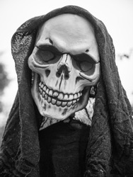 Close-up of a decorative skull, Halloween decoration black and white photography
