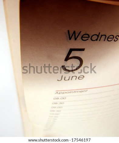 Close up of a diary