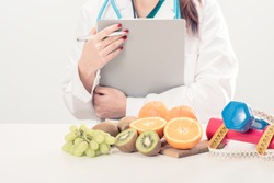 Close up of a dietitian doctor