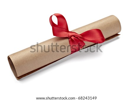 close up of  a diploma with red ribbon on white background  with clipping path