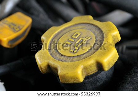 Close up of a dirty oil cap - a series of MECHANIC related images.