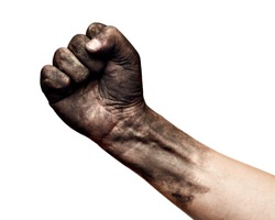close up of a dirty worker hand fist on white background