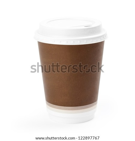 Close-up of a disposable coffee cup isolated on white background. Clipping path included