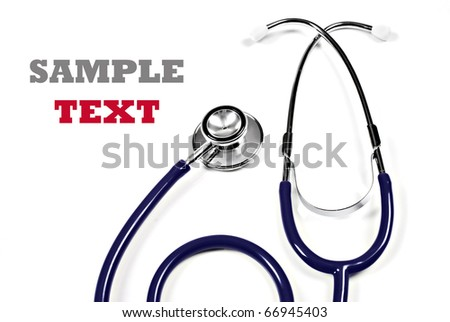 Close up of a  doctor's stethoscope on a pure white background with space for text